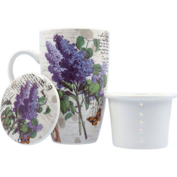 Porcelán teás bögre szűrővel és fedővel, 4 dl (többféle minta)