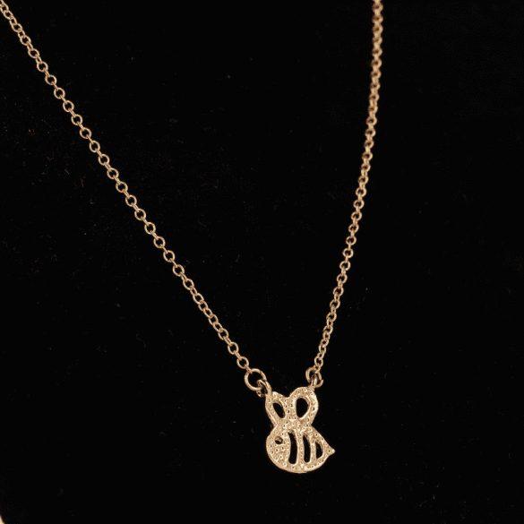 Nyaklánc méhecskés medállal, aranyozott