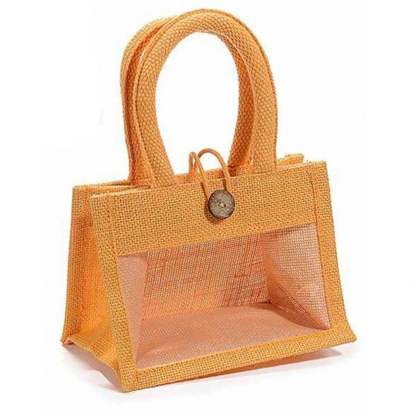 Ablakos dísztasak juta anyagból, gombos, 2x400g-os mézes üveghez (narancs-szürke-kheki-natúr)
