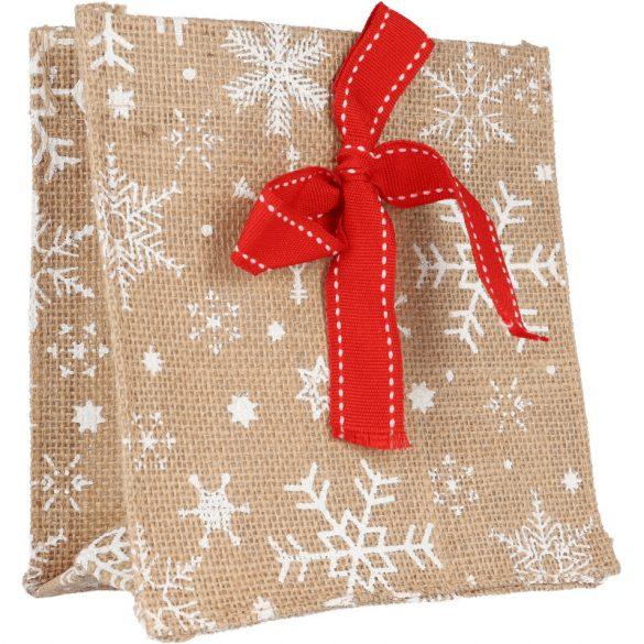 Karácsonyi juta dísztasak, piros szalaggal