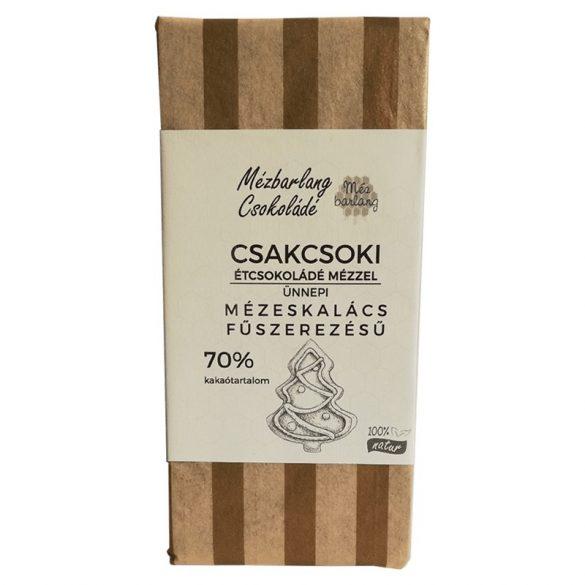 Csakcsoki étcsokoládé mézzel karácsonyi mézeskalács ízben 70g (Mézbarlang)