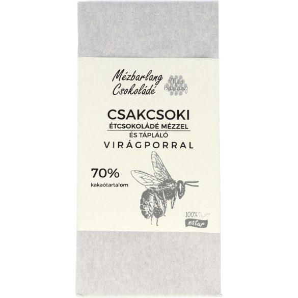 Csakcsoki étcsokoládé mézzel és virágporral 70g (Mézbarlang)